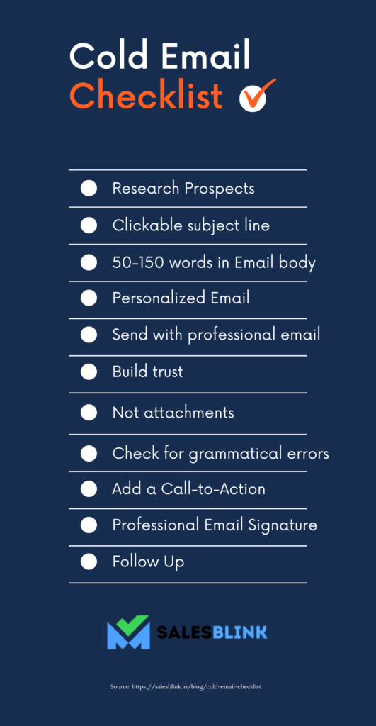 11 point cold email checklist to refer to before sending cold emails