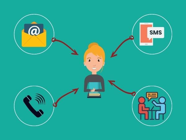 stay in touch with warm leads using different channels like call, sms, email, and personal meeting