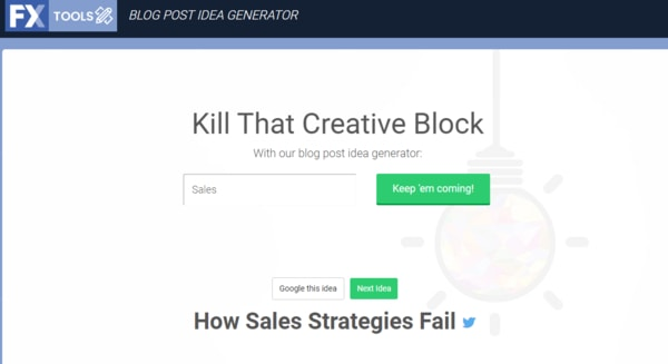 """webx tool generating ideas around the word """"sales"""""""