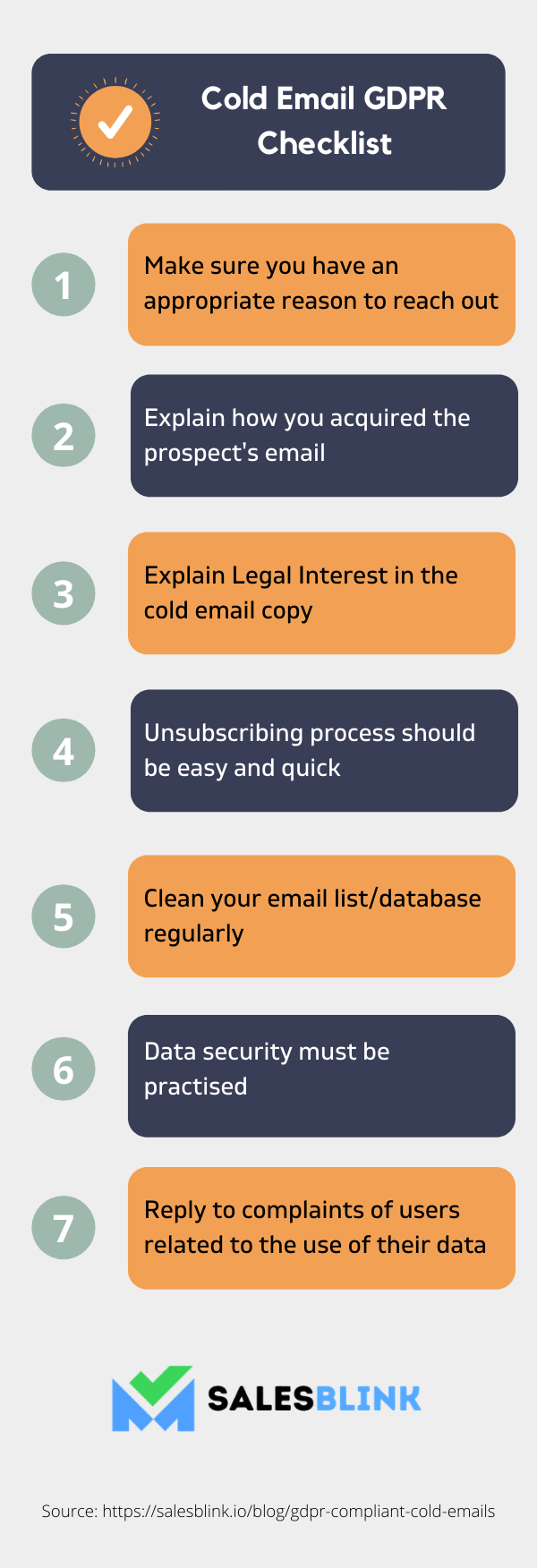 Infographic on the ways to stay GDPR complaint while sending cold emails