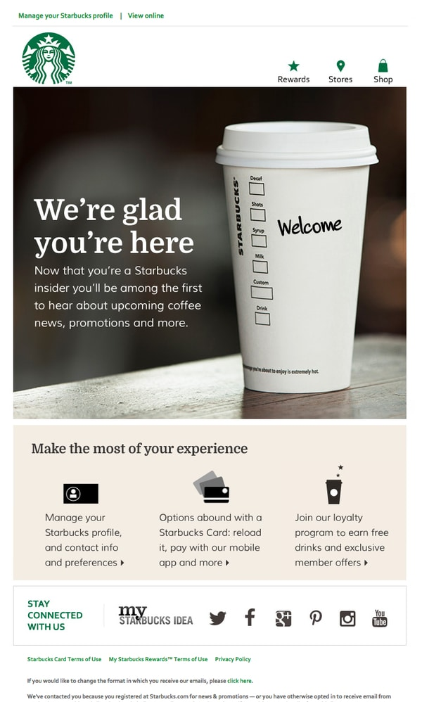 a welcome email from starbucks as an example for relationship selling