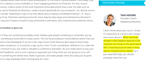 Image showing an example of customer testimonial on blog.