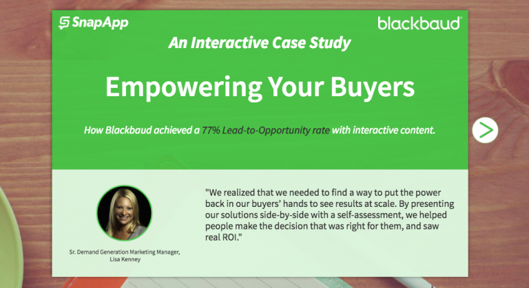 interactive case study example with customer testimonial for increasing sales