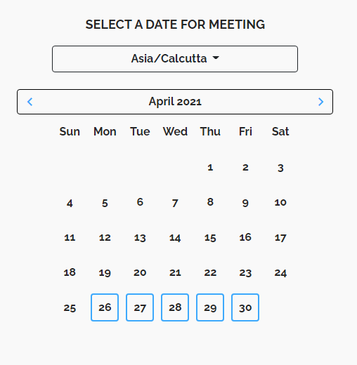 Screenshot of screen showing option to select a date for the meeting.
