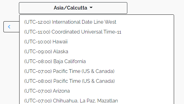 option to select time zone in the meeting scheduler.