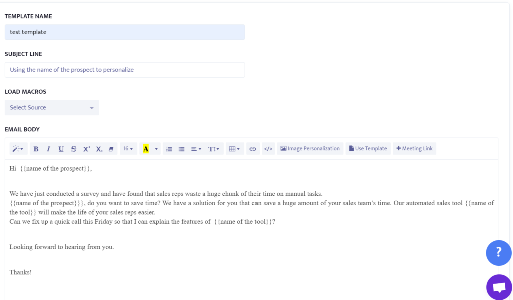 email example to personalize cold emails by using name of the prospect.