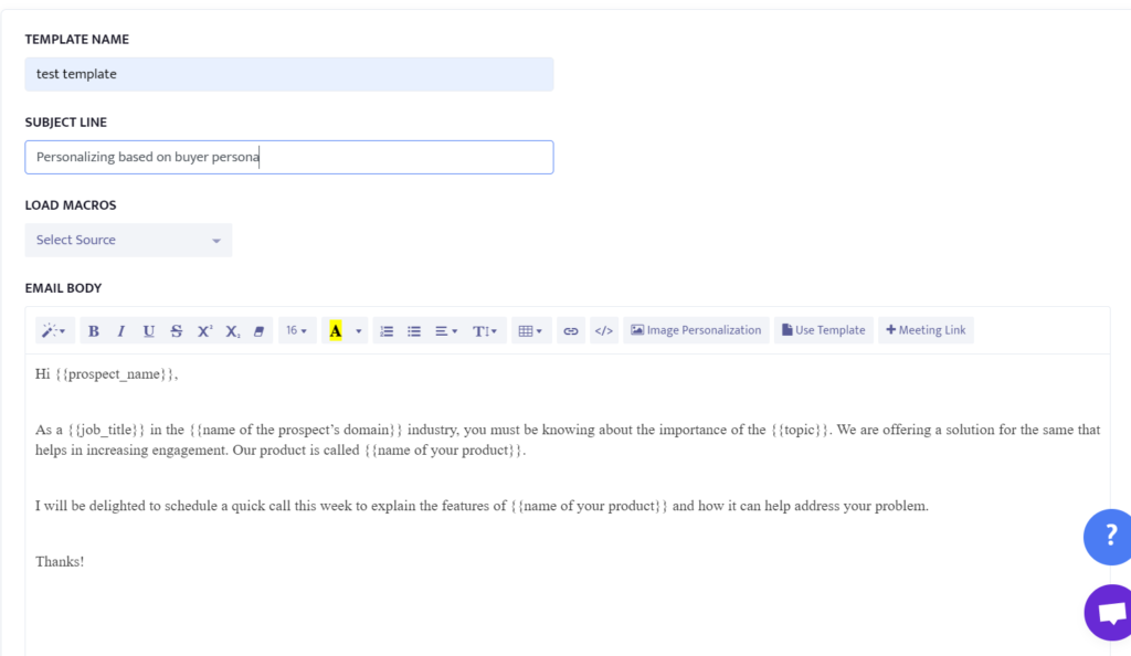 example of personalizing emails based on buyer persona.
