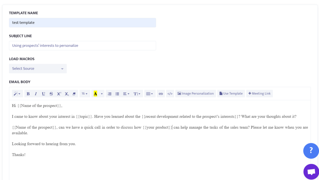 example of using prospects' interests to personalize emails