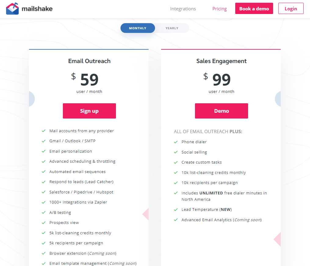 MailShake monthly pricing
