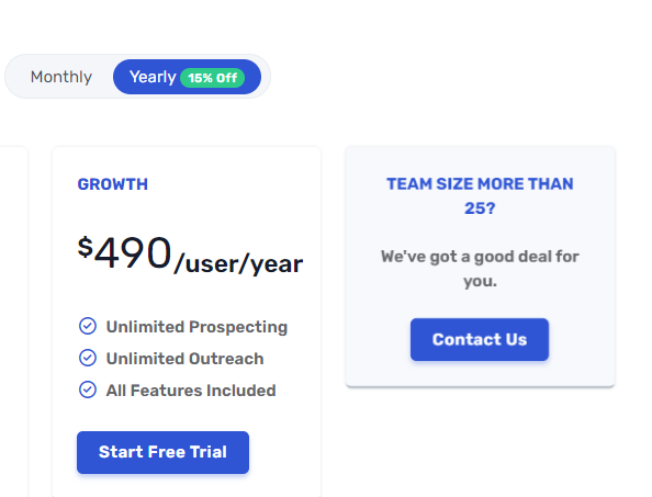 SalesBlink's yearly pricing